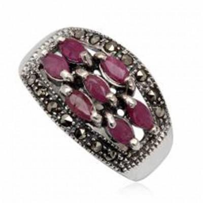 Anel de prata 925 com rubis, esmeraldas, safiras e marcasita