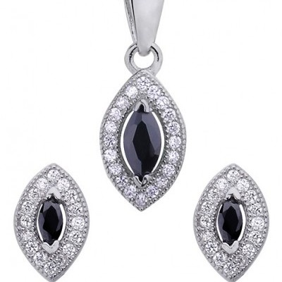 Conjunto brincos e pendente prata 925 com pedras zircão preta e brancas (oval)