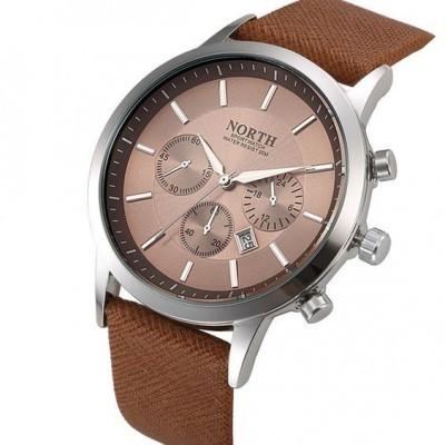 Relógio com bracelete de couro castanha