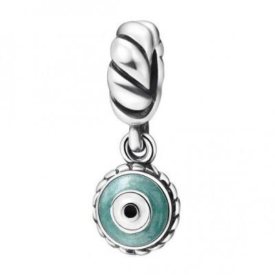 Conta pingente banhada a prata 925 compatível com pandora (olho de proteção)