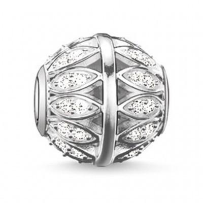 Conta banhada a prata 925 com cristais brancos