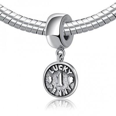Pingente de prata 925 compatível com pandora (lucky penny)