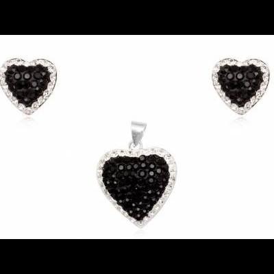 Conjunto brincos e pendente prata 925 c/ cristais pretos e brancos (coração)
