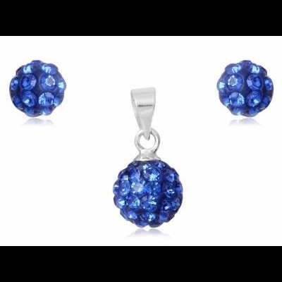 Conjunto brincos e pendente prata 925 c/ cristais azuis safira